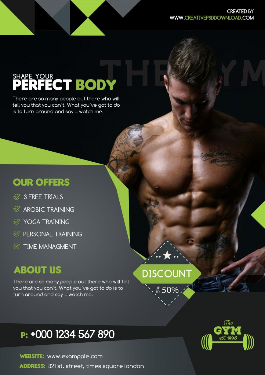 009 Outstanding Personal Trainer Flyer Template Inspiration  Sample Design