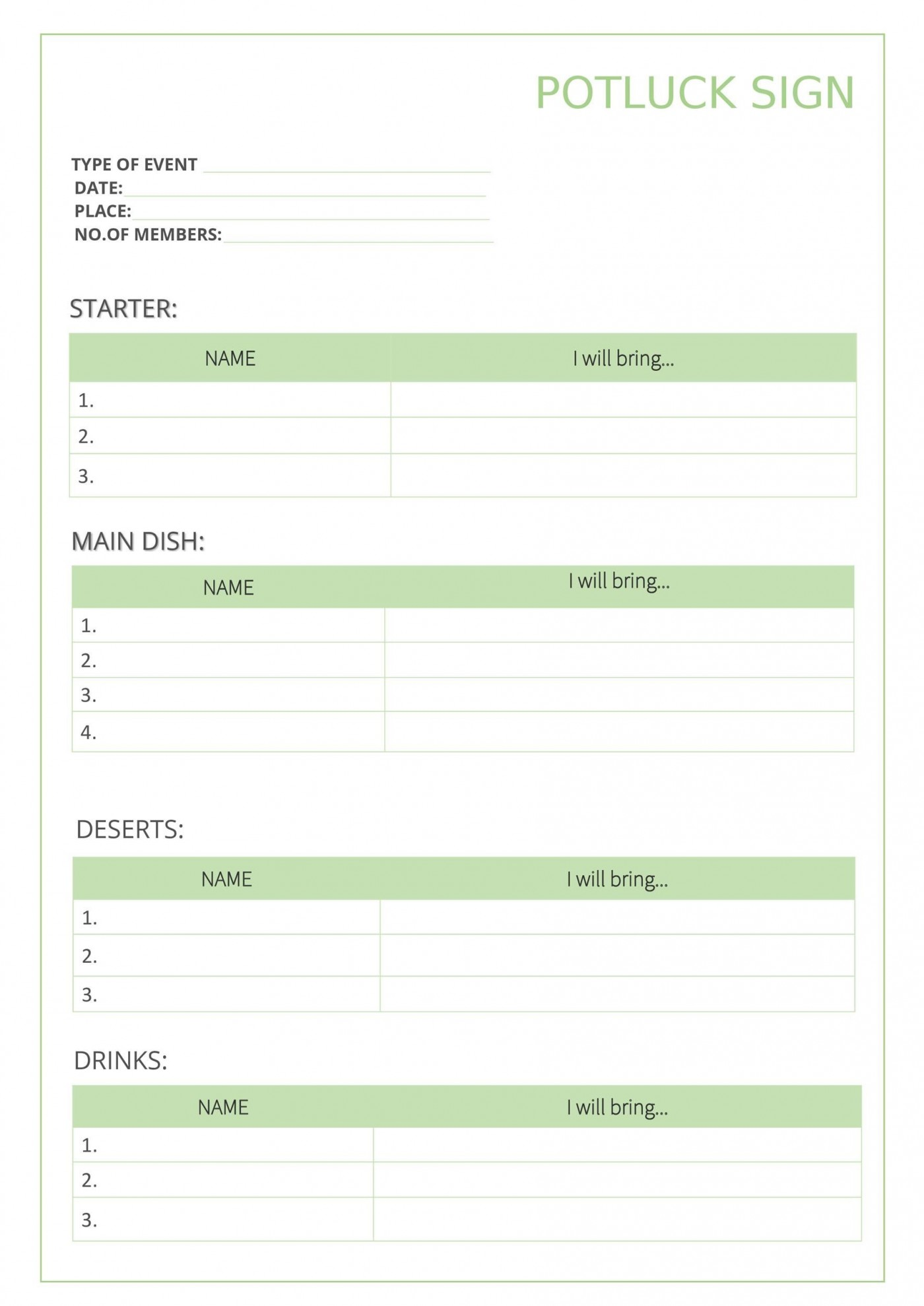 009 Outstanding Potluck Signup Sheet Template Word Photo  Microsoft Free Printable Sign Up1400