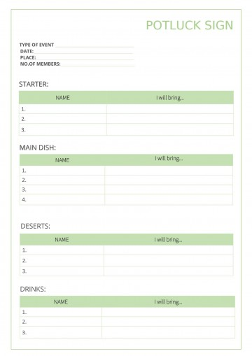 009 Outstanding Potluck Signup Sheet Template Word Photo  Microsoft Free Printable Sign Up360