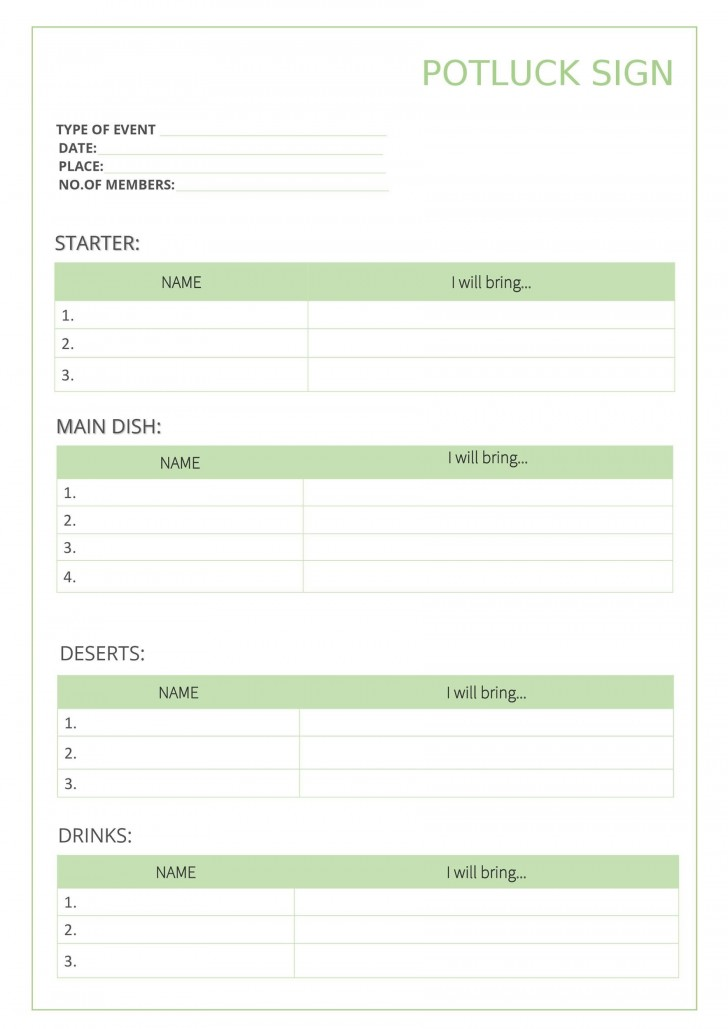 009 Outstanding Potluck Signup Sheet Template Word Photo  Microsoft Free Printable Sign Up728