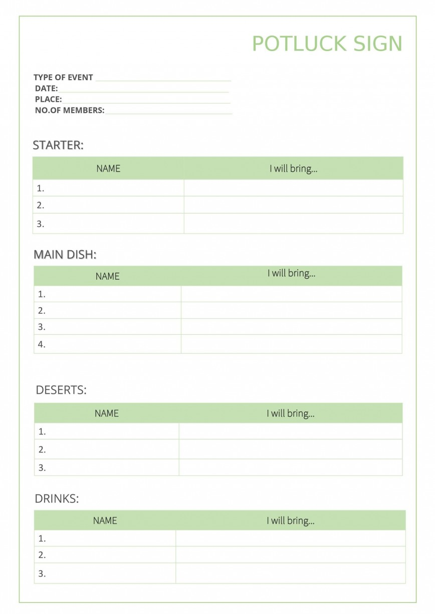 009 Outstanding Potluck Signup Sheet Template Word Photo  Microsoft Free Printable Sign Up868