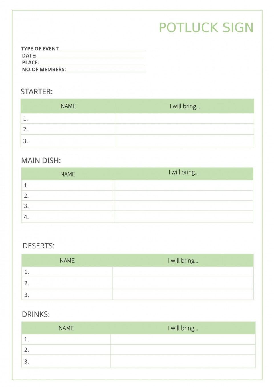 009 Outstanding Potluck Signup Sheet Template Word Photo  Microsoft Free Printable Sign Up960
