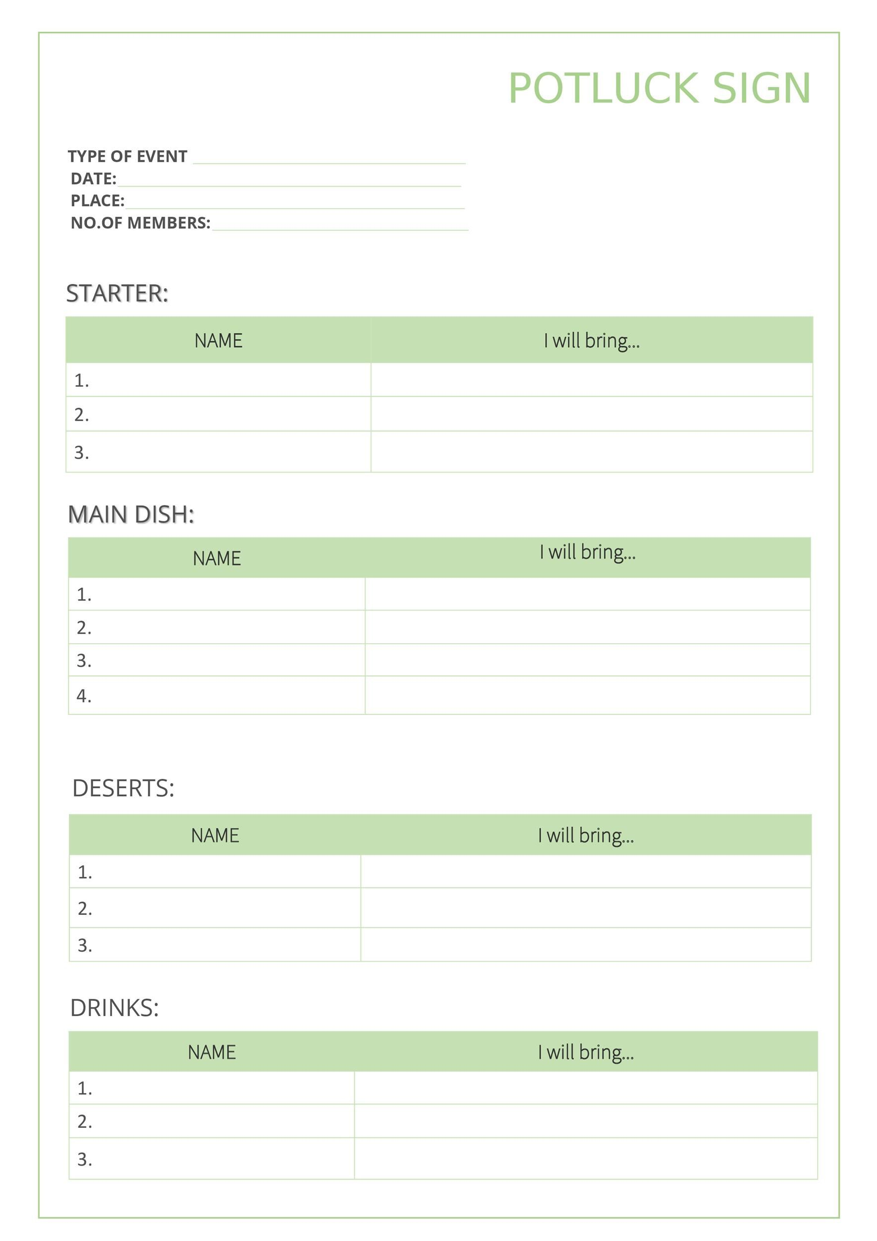 009 Outstanding Potluck Signup Sheet Template Word Photo  Microsoft Free Printable Sign UpFull