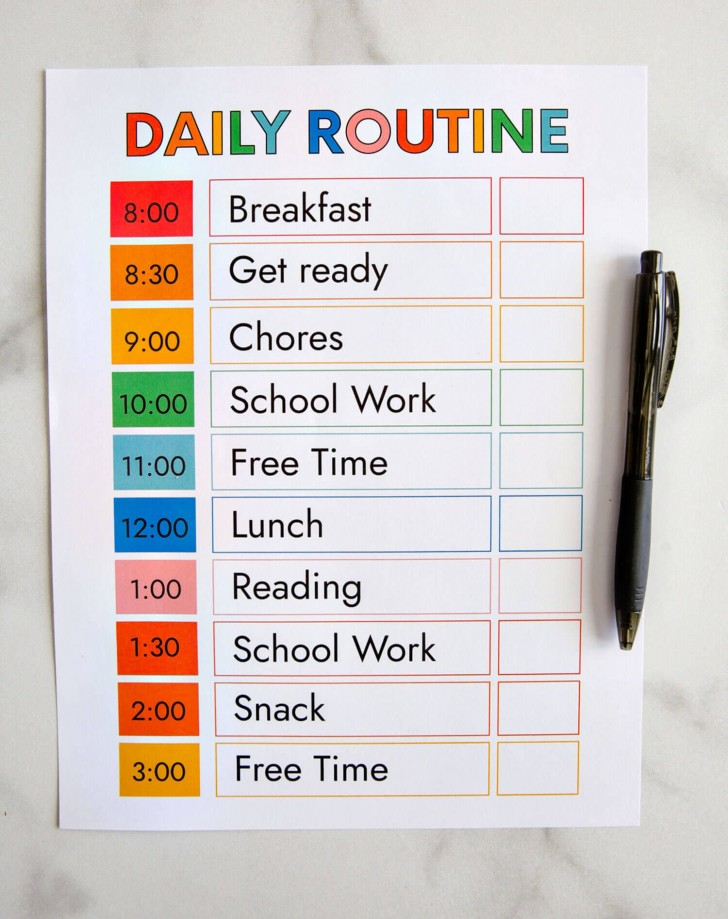 009 Outstanding Printable Daily Schedule Template Inspiration 728