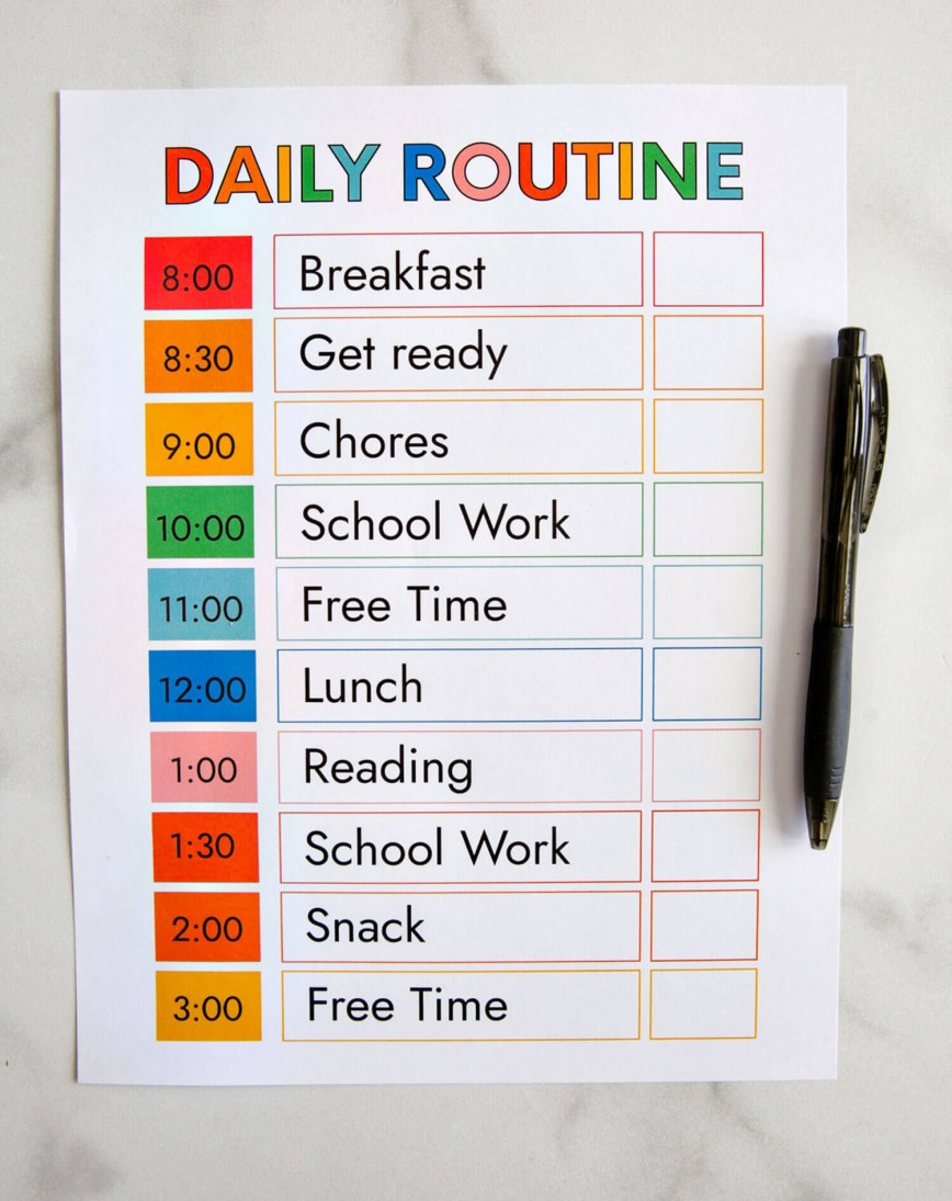 009 Outstanding Printable Daily Schedule Template Inspiration 868