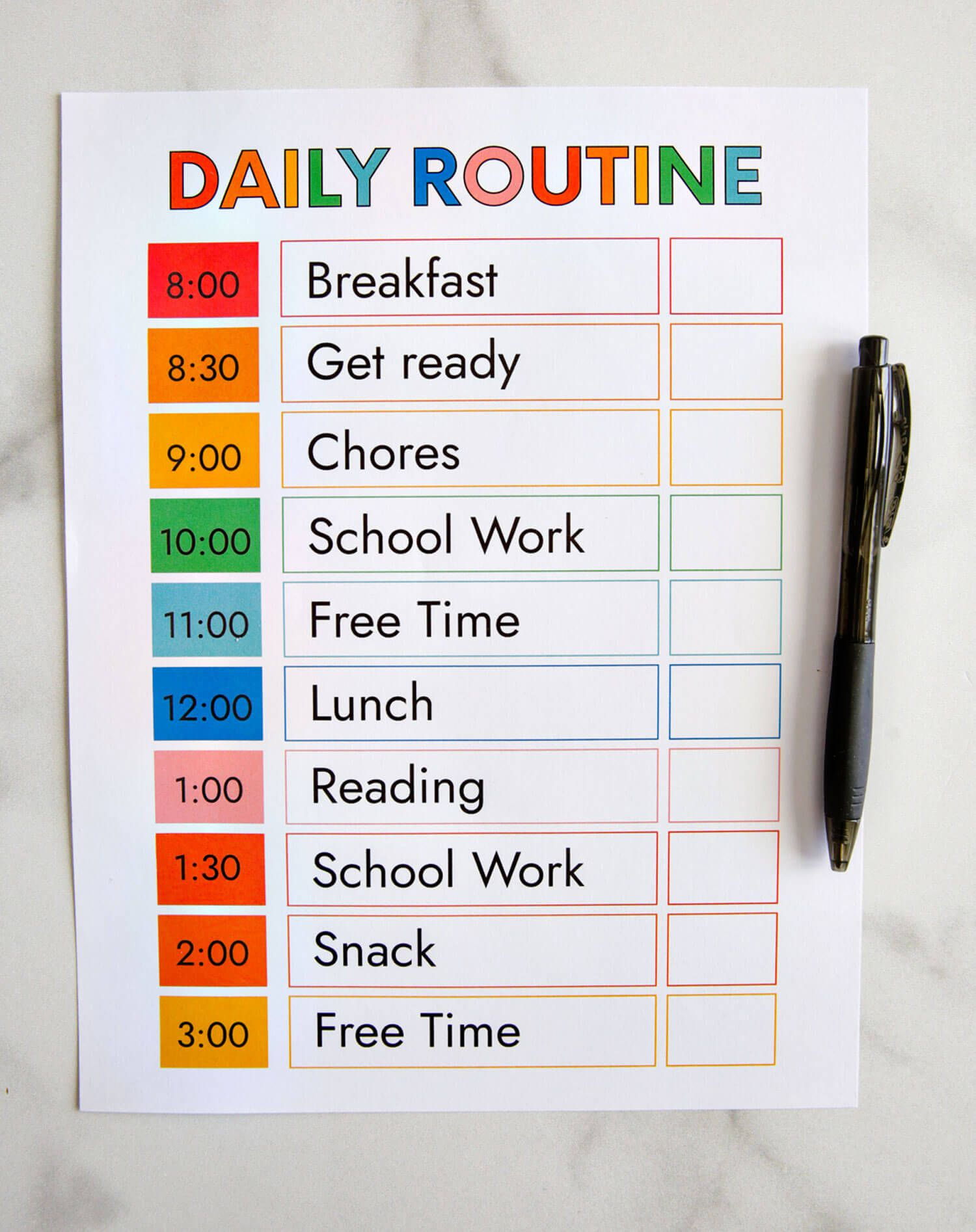 009 Outstanding Printable Daily Schedule Template Inspiration Full