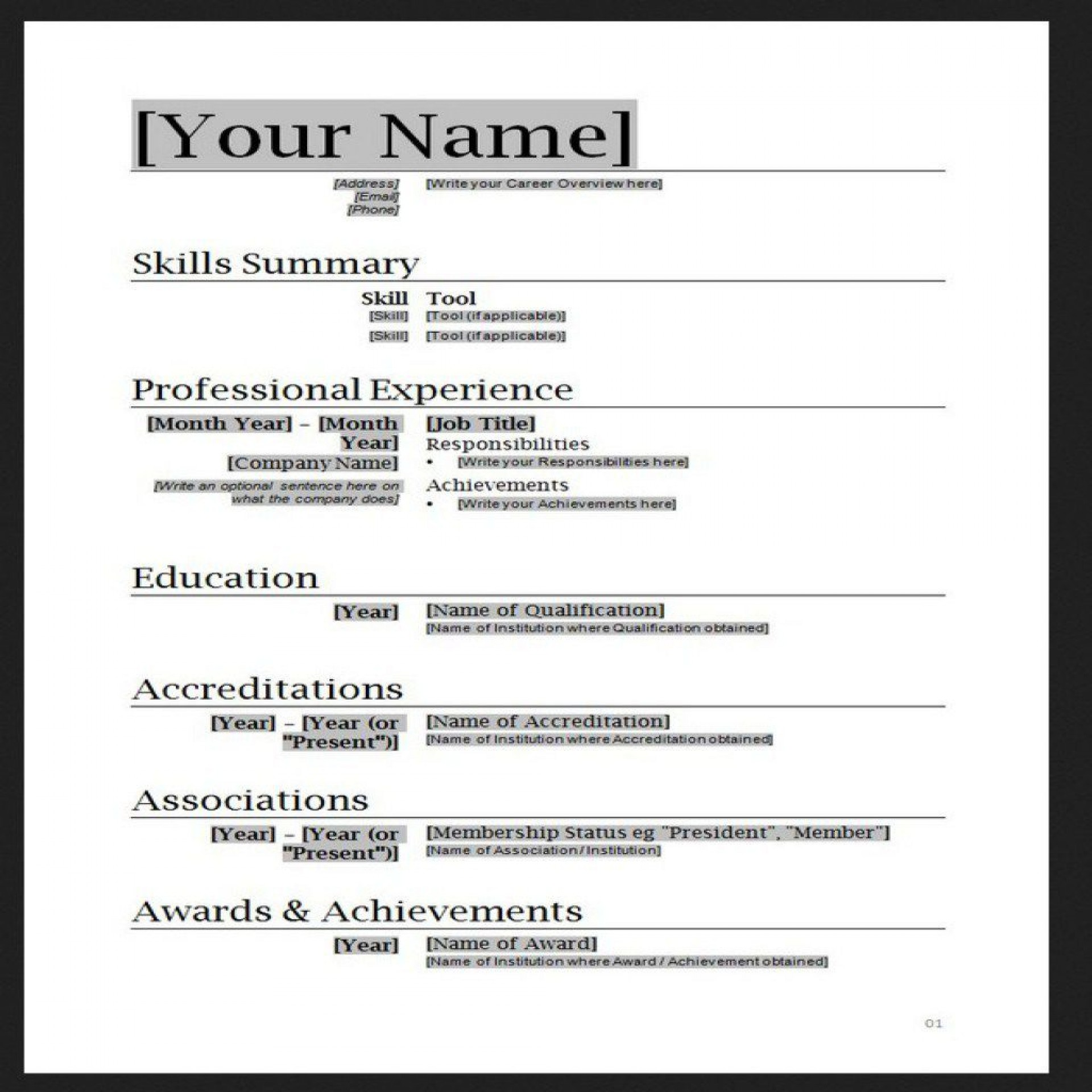 009 Outstanding Resume Template For Wordpad High Definition  Free Cv Download1920