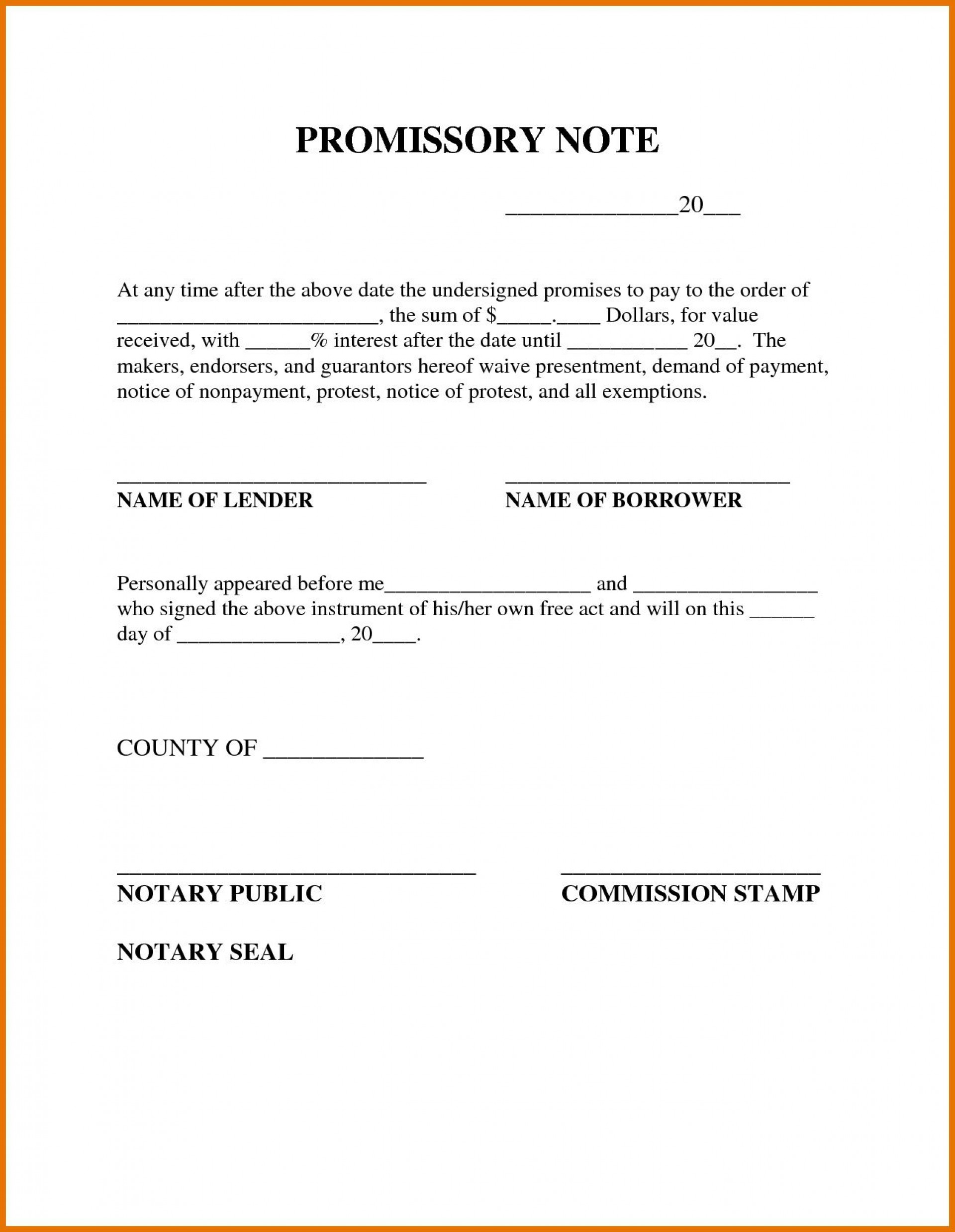 009 Outstanding Simple Promissory Note Template Image  Form Sample Format Of In India1920