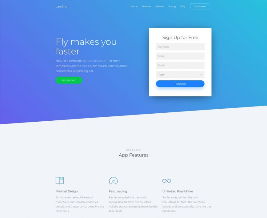 009 Outstanding Single Page Web Template Sample  Templates One Free Download Website Bootstrap Html With Cs