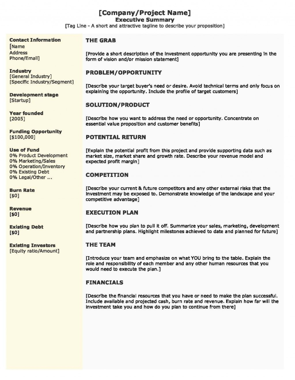 009 Outstanding Startup Busines Plan Example Doc Idea  SampleLarge