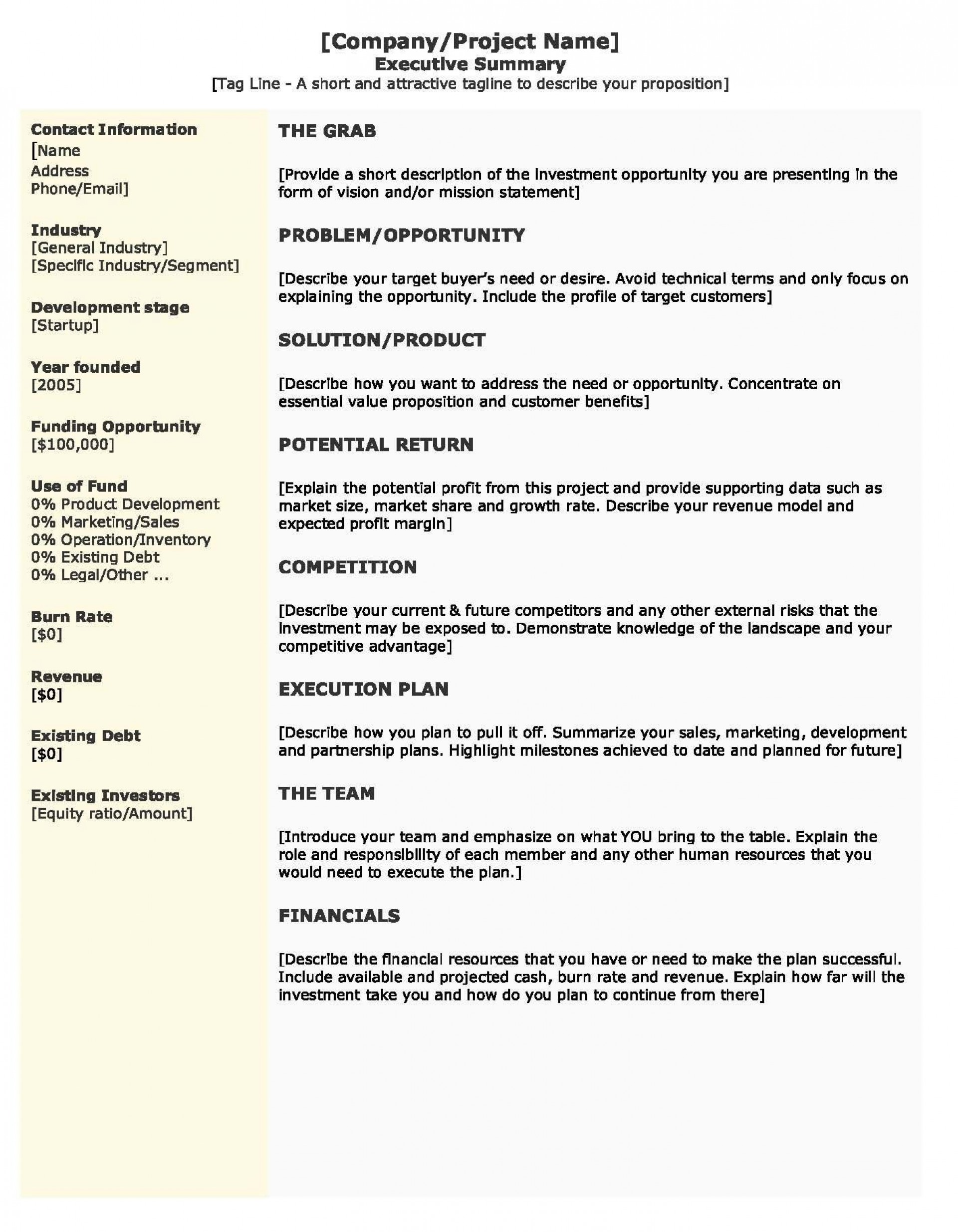 009 Outstanding Startup Busines Plan Example Doc Idea  Sample1920