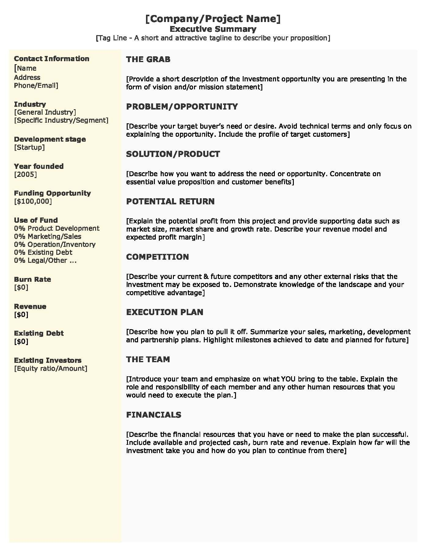 009 Outstanding Startup Busines Plan Example Doc Idea  SampleFull