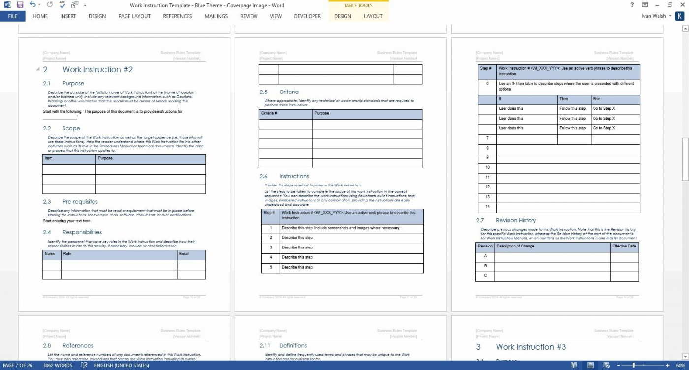 009 Outstanding Step By Instruction Template Image  Proces Work Microsoft Word Excel1400