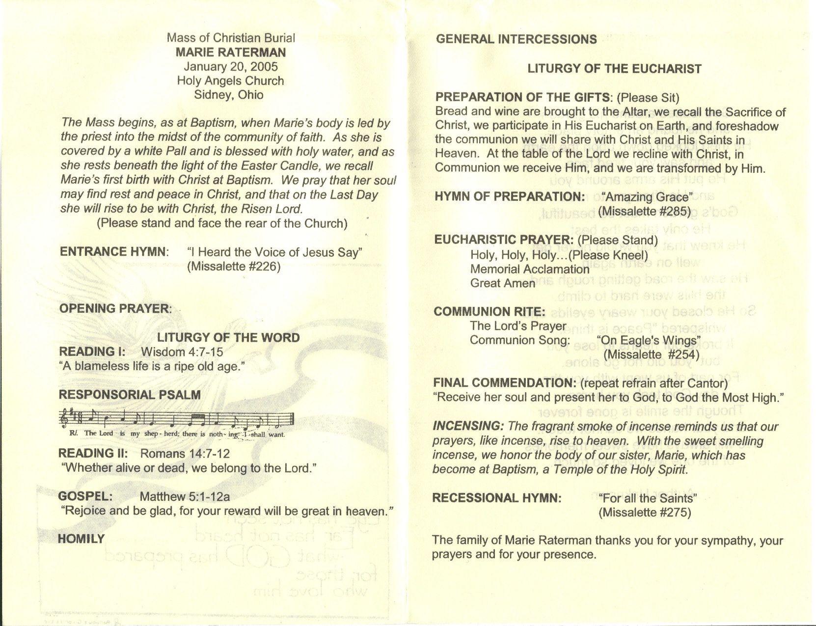 009 Phenomenal Catholic Funeral Program Template Photo  Mas Layout FreeFull