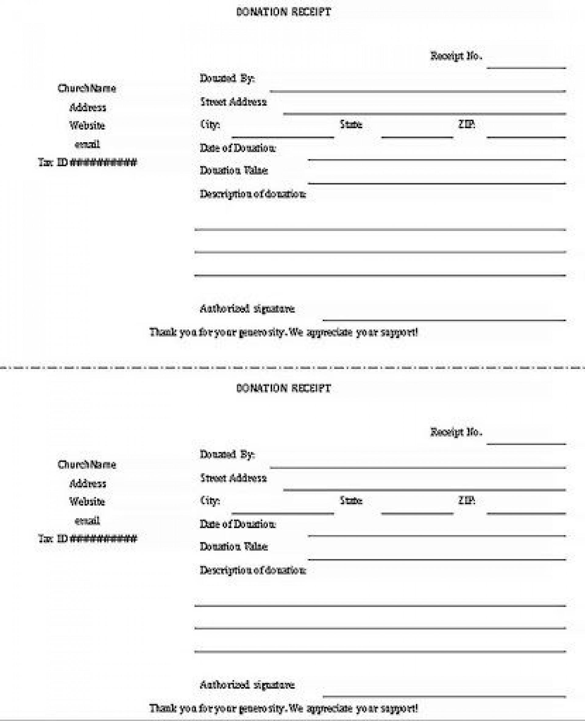 009 Phenomenal Charitable Tax Receipt Template Sample  Donation1920