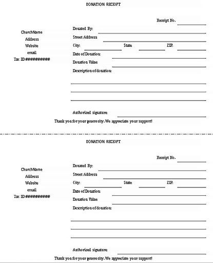 009 Phenomenal Charitable Tax Receipt Template Sample  DonationFull