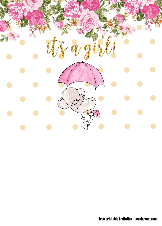 009 Phenomenal Elephant Girl Baby Shower Invitation Template Photo  Templates PinkLarge