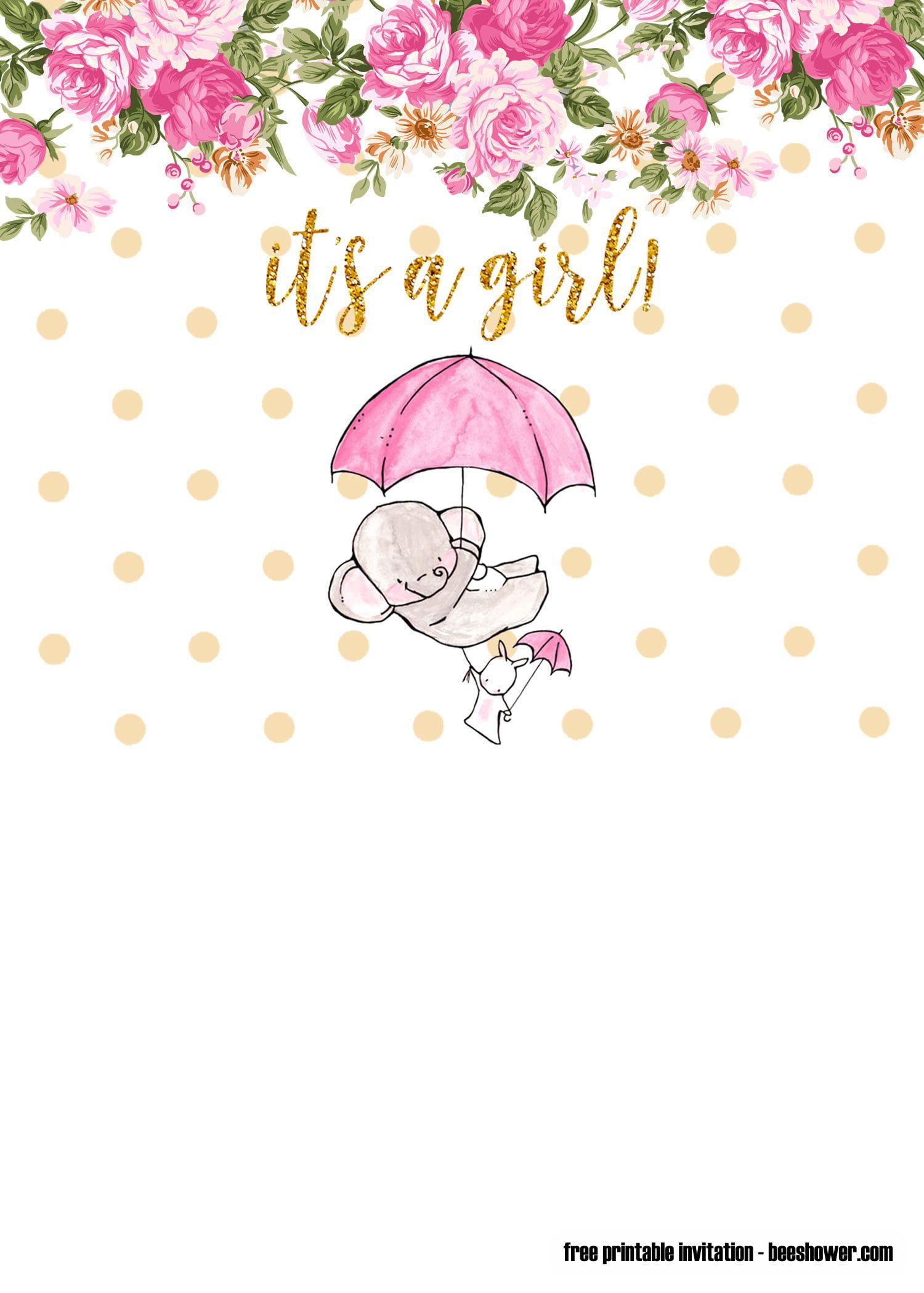 009 Phenomenal Elephant Girl Baby Shower Invitation Template Photo  Templates PinkFull