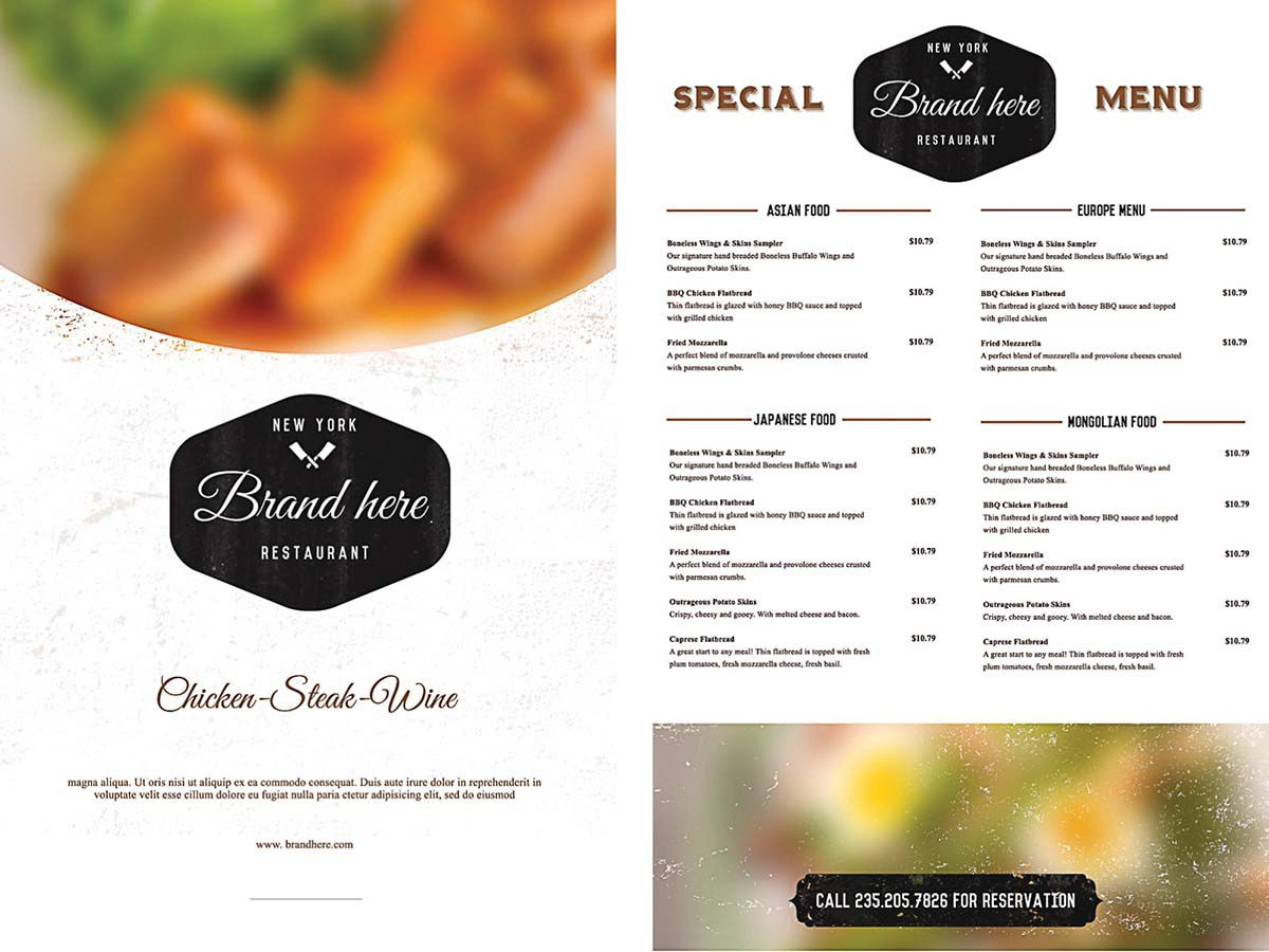 009 Phenomenal Menu Template Free Download For Restaurant Photo  Word PsdFull