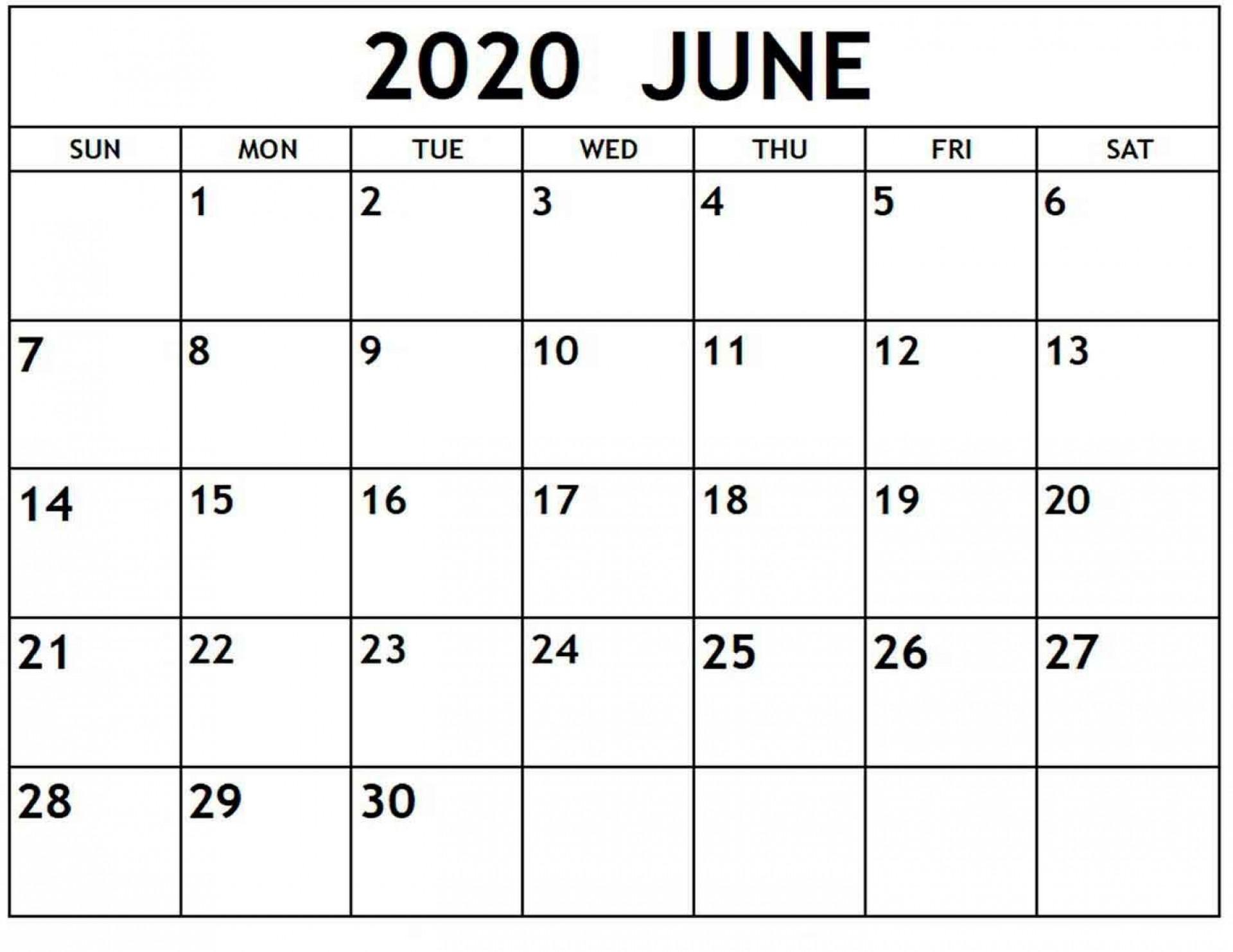 009 Phenomenal Printable Calendar Template June 2020 High Resolution  Free1920