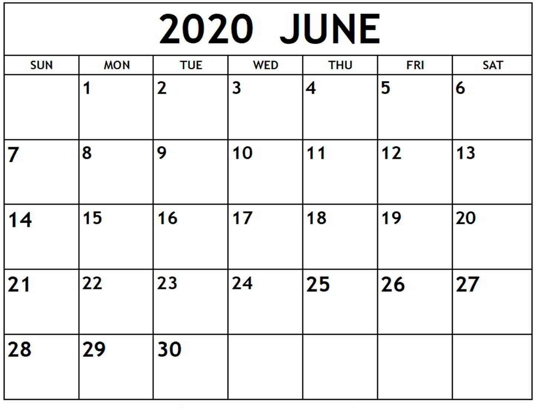 009 Phenomenal Printable Calendar Template June 2020 High Resolution  FreeFull