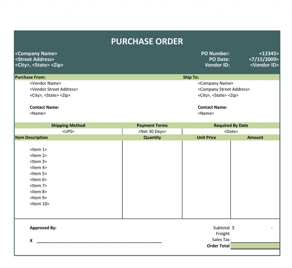009 Phenomenal Purchase Order Form Template Picture  Templates Free Sample Download OnlineLarge