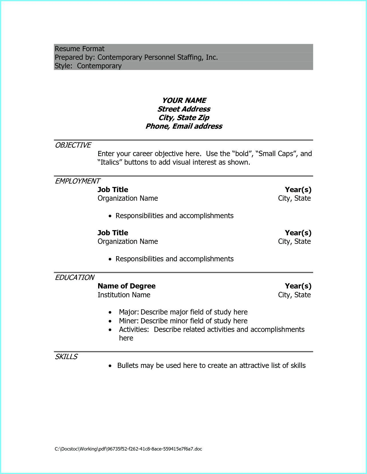009 Phenomenal Resume Example Pdf Free Download Full