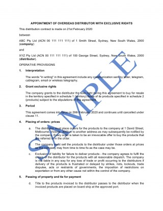 009 Phenomenal Sole Distribution Agreement Template Picture  Exclusive Distributor Free320
