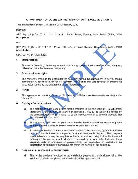 009 Phenomenal Sole Distribution Agreement Template Picture  Exclusive Distributor Free480