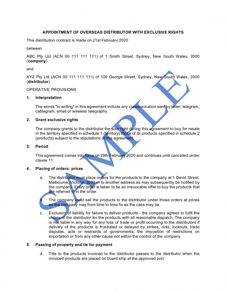009 Phenomenal Sole Distribution Agreement Template Picture  Exclusive Distributor Free728