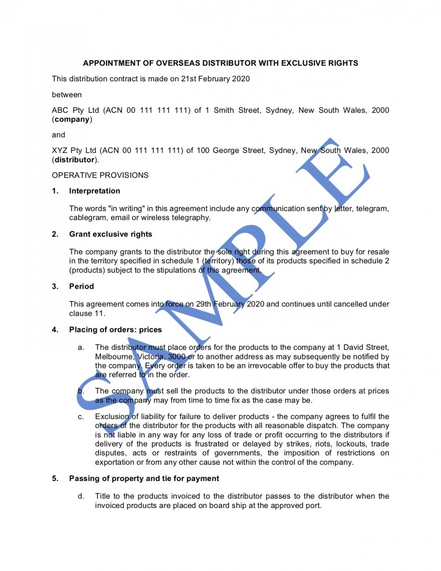 009 Phenomenal Sole Distribution Agreement Template Picture  Distributor Free Non Exclusive