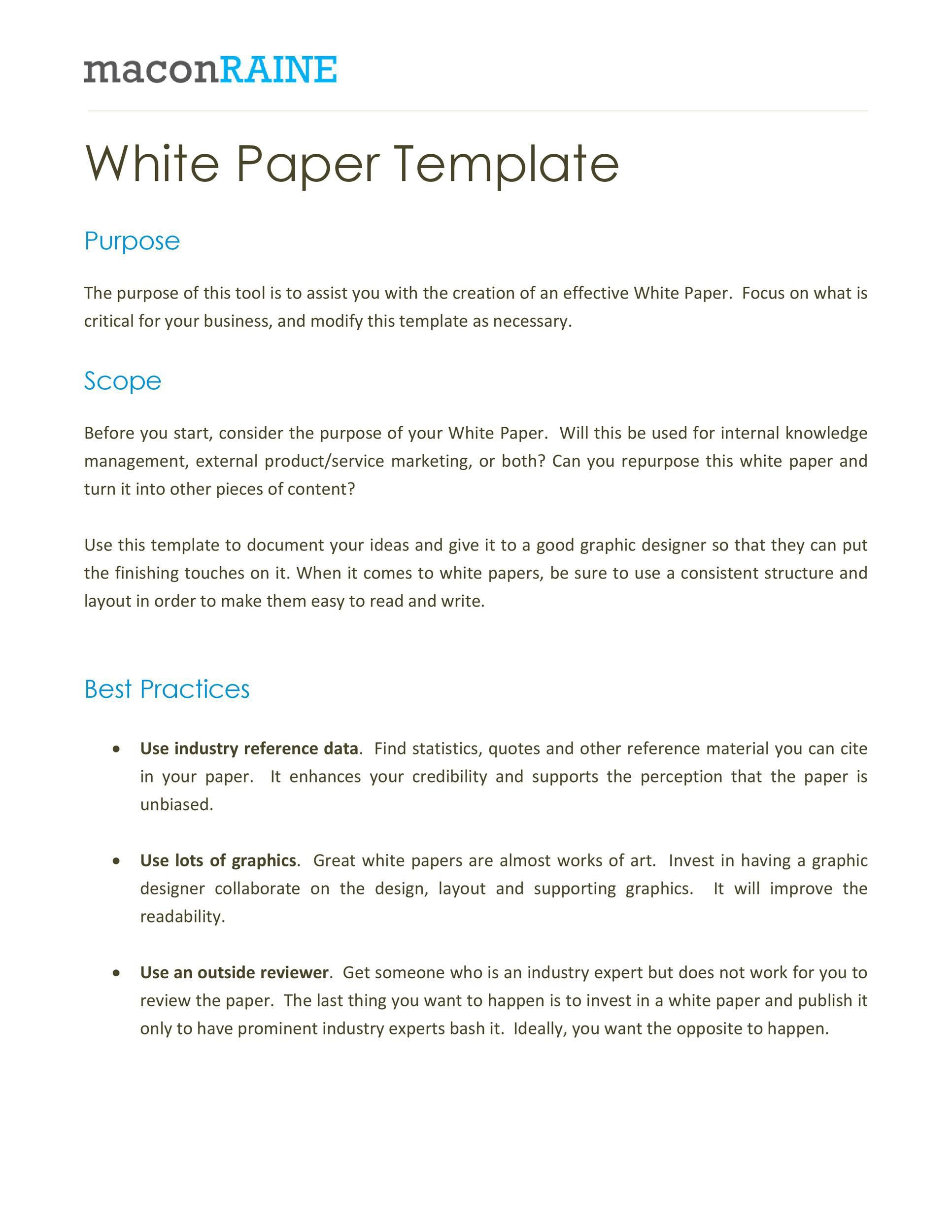 009 Phenomenal White Paper Outline Sample Picture Full