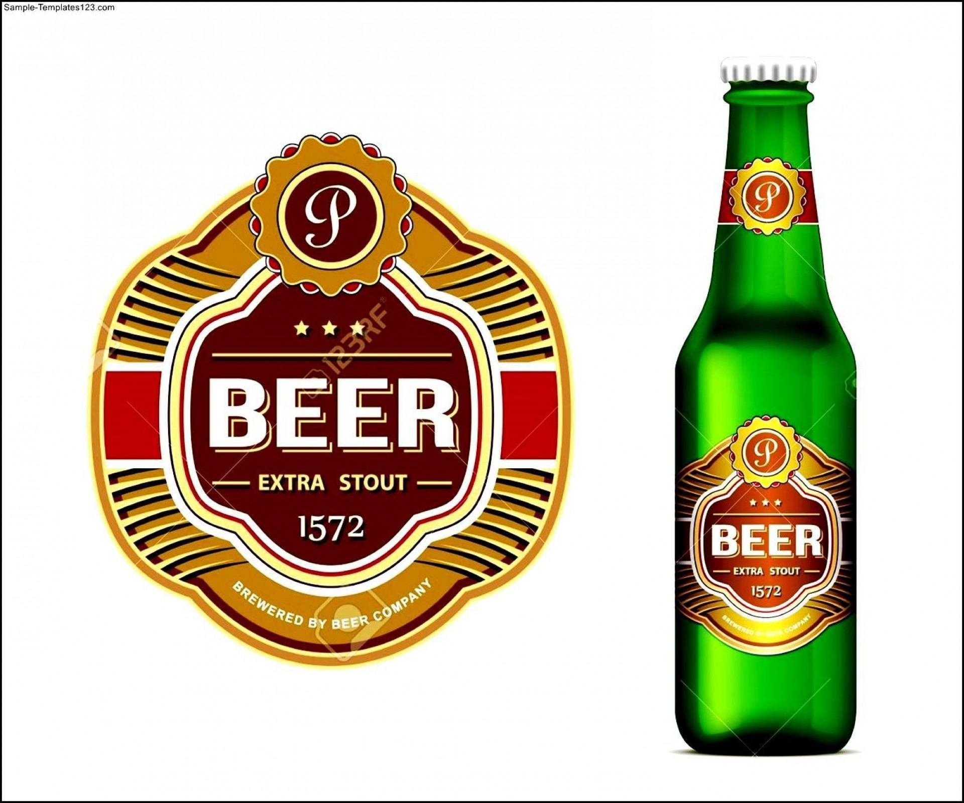 009 Rare Beer Bottle Label Template Word Highest Clarity  Free1920