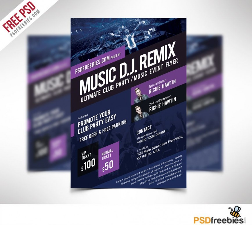 009 Rare Event Flyer Template Free Psd High Definition  Music Boxing868