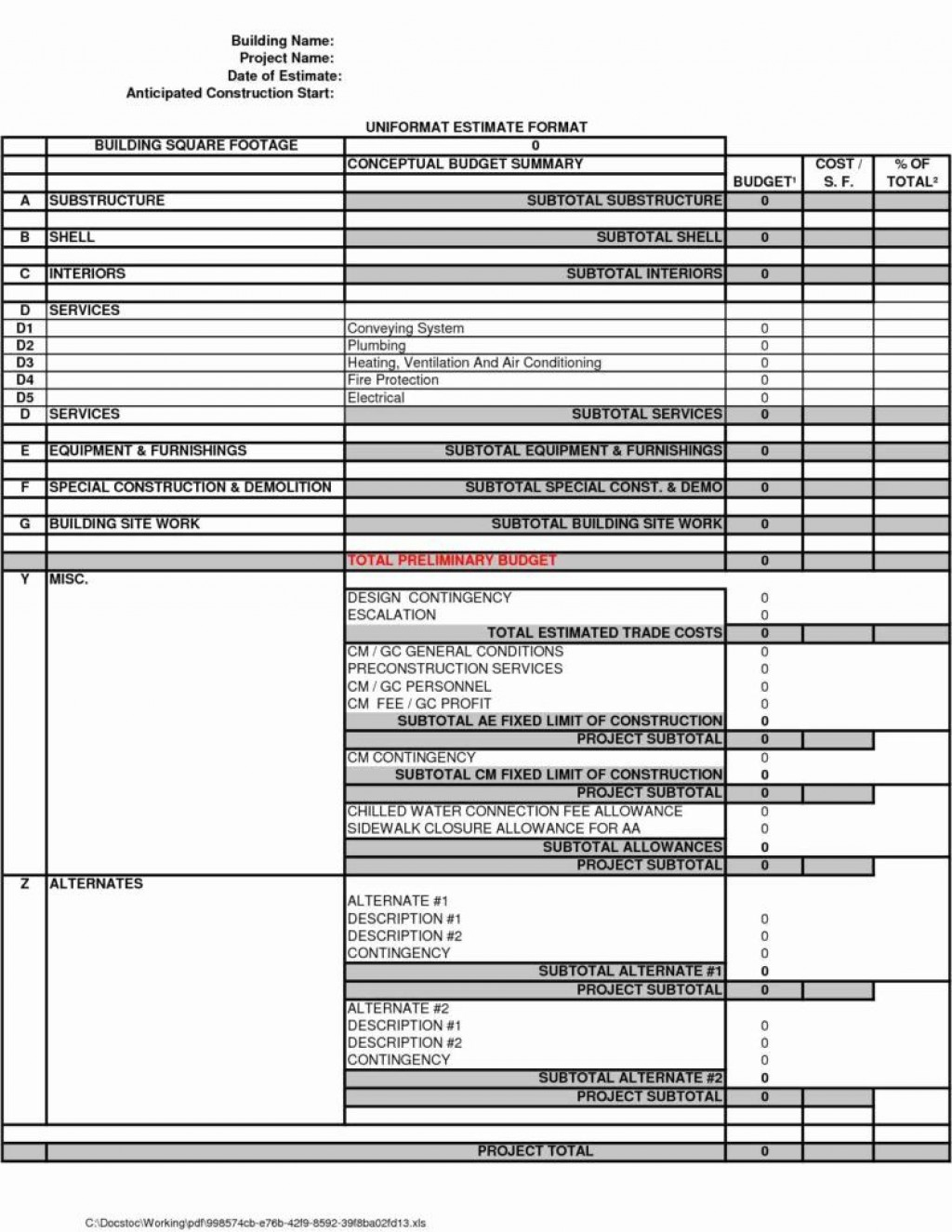 009 Rare Free Job Estimate Template Highest Quality  Printable FormLarge
