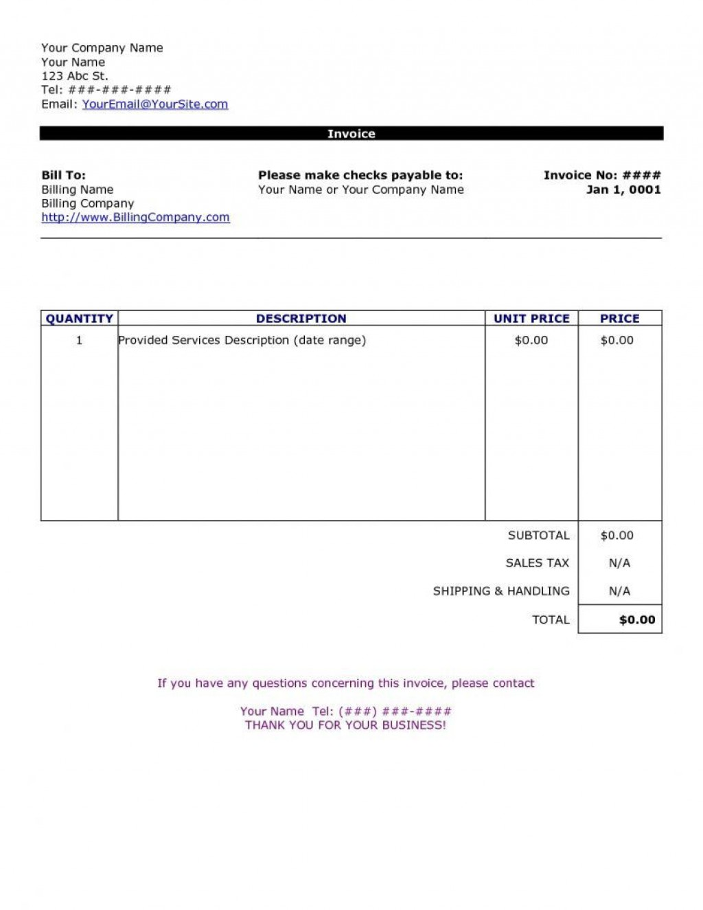 009 Rare Invoice Template For Word Concept  Example Download Blank FreeLarge