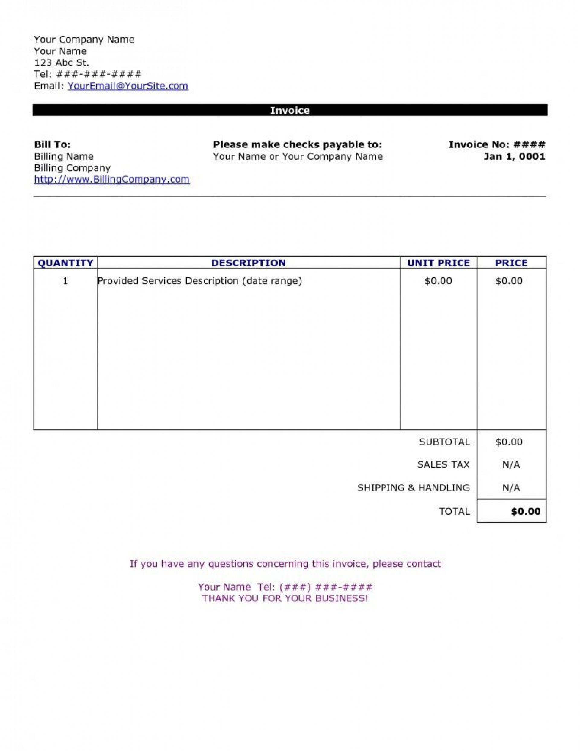 009 Rare Invoice Template For Word Concept  Example Download Blank Free1920