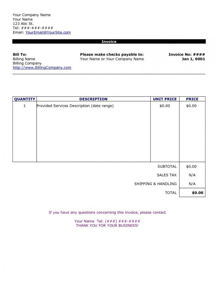 009 Rare Invoice Template For Word Concept  Theme Wordpres Free 2010