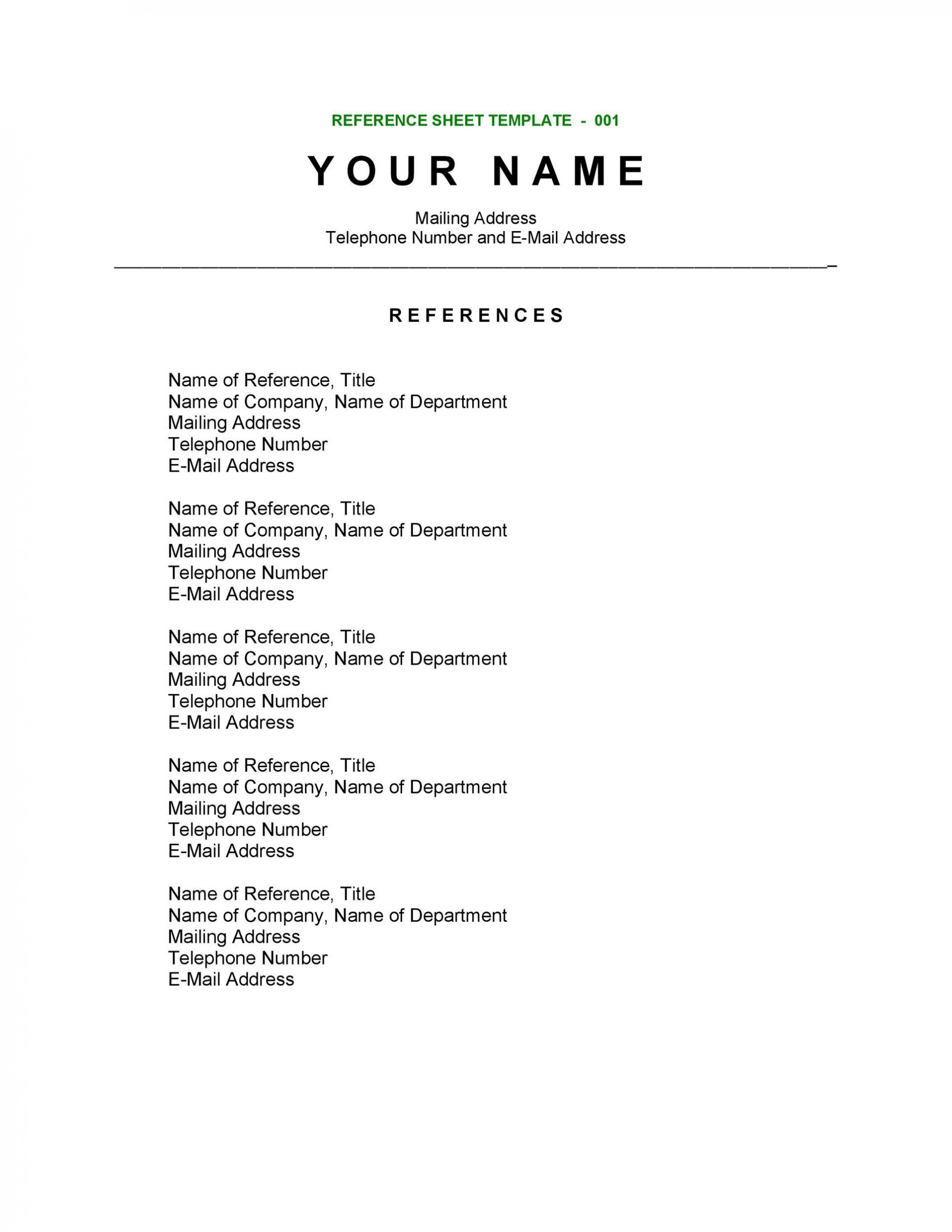 009 Rare List Of Reference Template Concept  Employment Format Professional Free1920