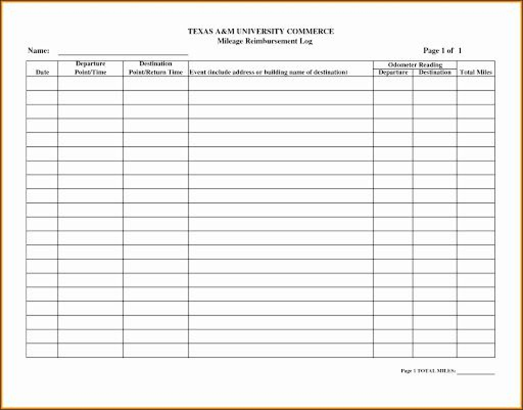 009 Rare Mileage Tracker Form Excel High Definition Large