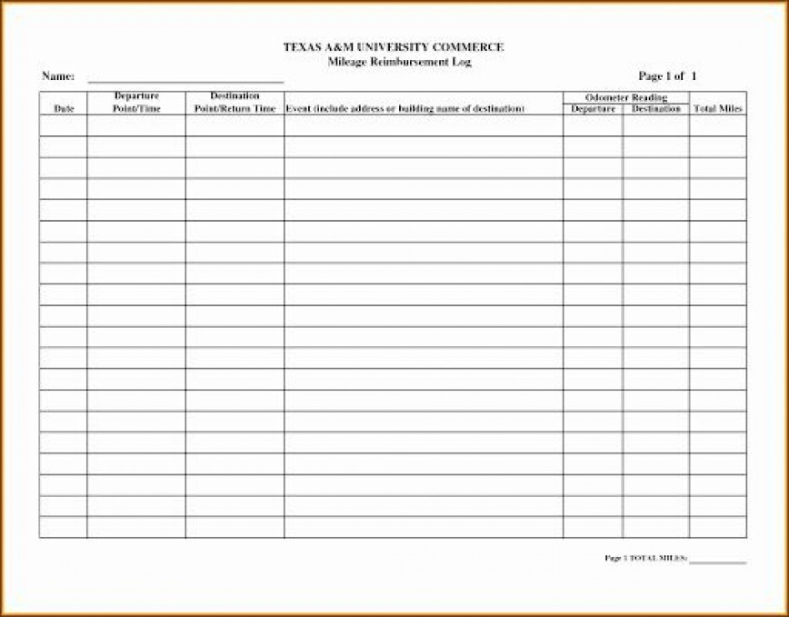 009 Rare Mileage Tracker Form Excel High Definition
