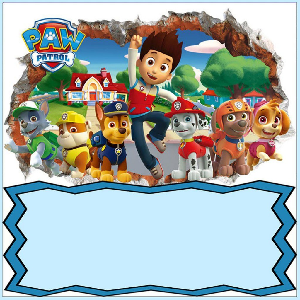 009 Rare Paw Patrol Birthday Invitation Template Picture  Party Invite Wording Skye FreeLarge
