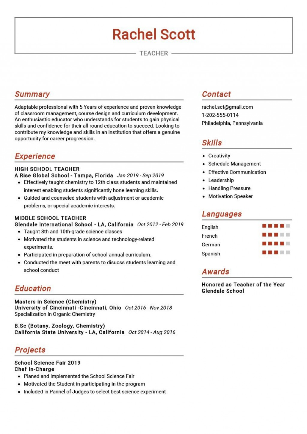 009 Rare Resume Example For Teaching Concept  Sample Position In College Teacher School Principal IndiaLarge