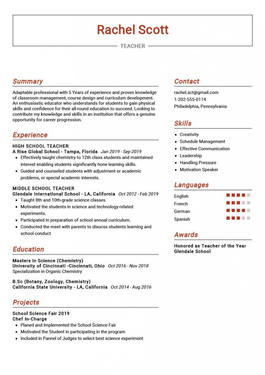 009 Rare Resume Example For Teaching Concept  Sample Position Objective Teacher Assistant Cv Job