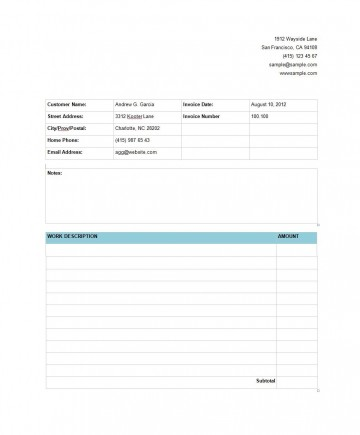 009 Rare Service Invoice Template Free Example  Rendered Word Auto Download360