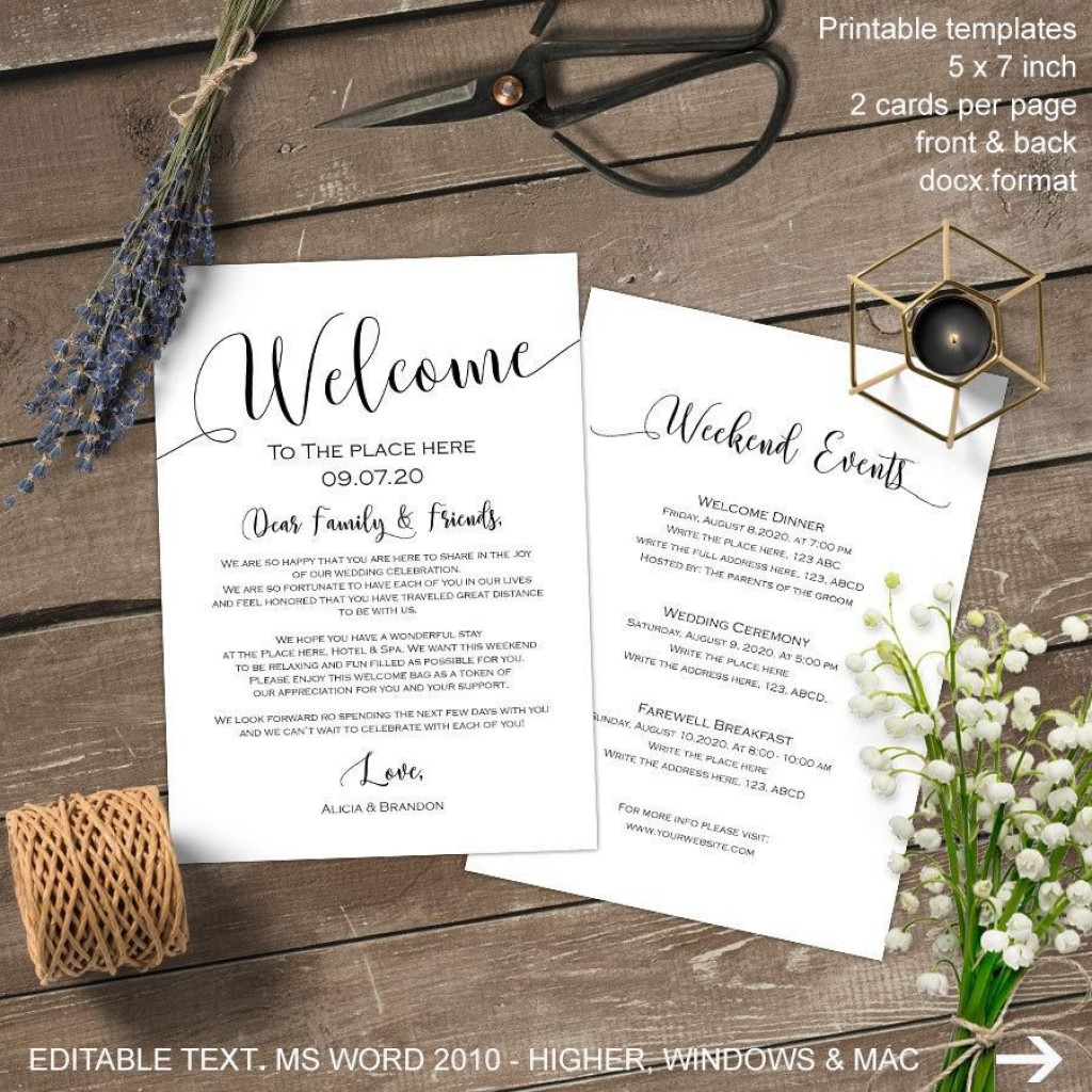 009 Rare Wedding Welcome Bag Letter Template Image  FreeLarge
