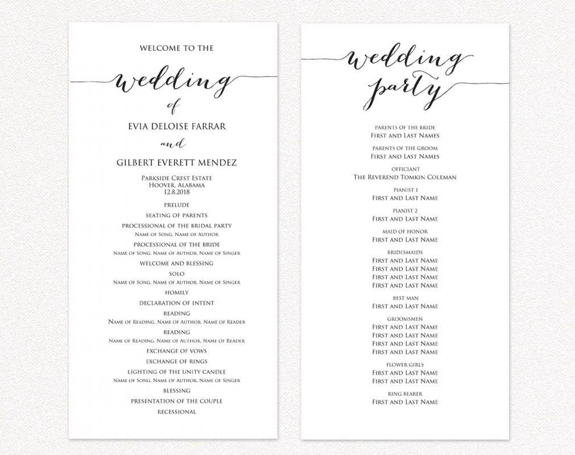 Diy Wedding Program Template Addictionary