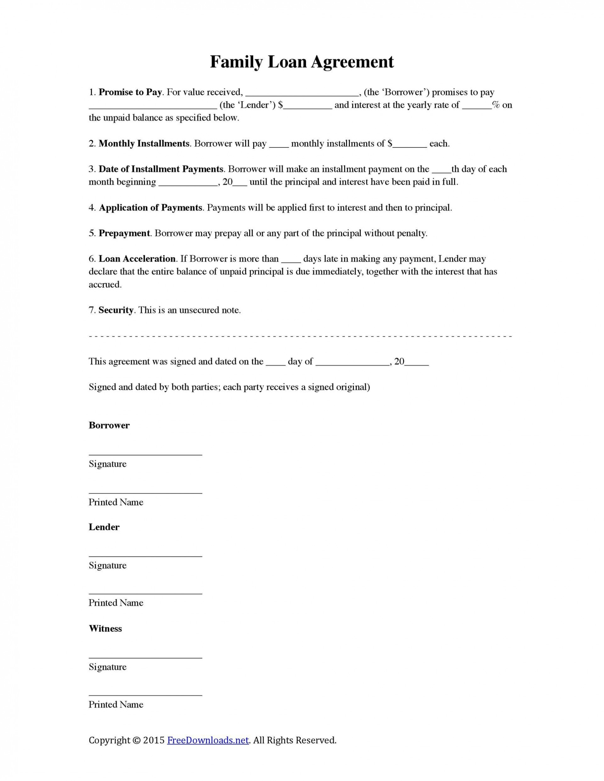 009 Remarkable Family Loan Agreement Template Free Uk Inspiration  Simple1920