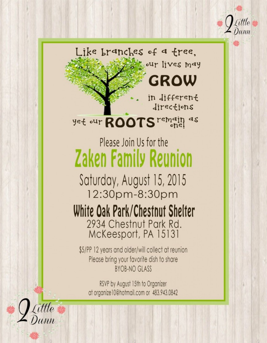 009 Remarkable Free Downloadable Family Reunion Flyer Template Photo 868
