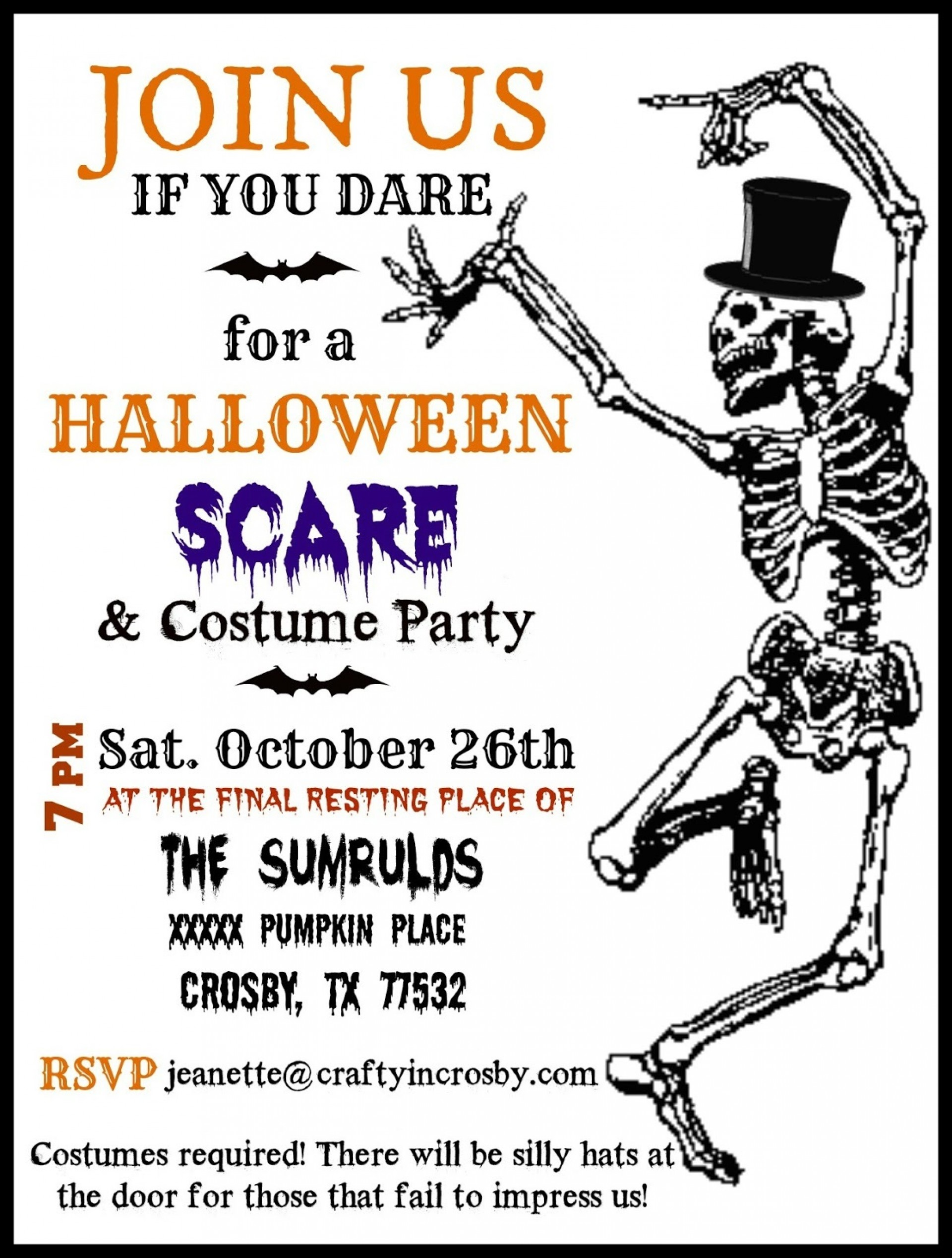 009 Remarkable Free Halloween Invite Template Concept  Templates Party Invitation For Word1920